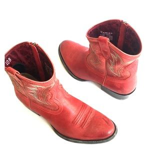 Ariat Women Billie Cowboy Boots Pebbled Red